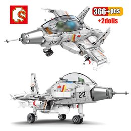 toy military airplanes 2020 - Sembo 366pcs Chinese Q Version J-15 Carrier Fighter Building Block Airplane Military City Plane Bricks Construction Chil