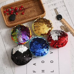 s key ring NZ - 2018 New Mermaid Sequin Coin Purse Mini Storage Bag Key Ring Round Plush Coin Bag Students Headphone Bag