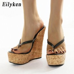 Eilyken Summer Beautiful Ladies Super High-Heeled Platform Flip Flops Fashion Beach Shoes Woman Slippers Outdoor Wedge Sandals #If1w