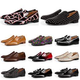 red bottoms diseñador de moda para hombre zapatos mocasines punta roja negra Slip On Dress de charol Fondos de pisos de boda Zapato para fiesta de negocios en venta