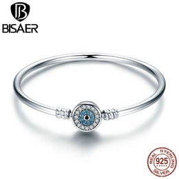 BISAER Real 925 Sterling Silver Blue Lucky Evil Eyes, Eye Of Guarding Bracelets & Bangles DIY Accessories Jewelry ECB012