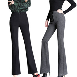 Wholesale butt lift pants resale online - Black High Waist Woolen Flare Pants Winter Warm Skinny Straight Leg Trousers Office Lady Butt Lifting Leggings Bell Bottoms LJ201130