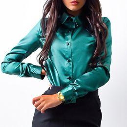 Wholesale sleeveless collared shirt plus size online – Elegant Women Sexy Satin Silk Shirt Long Sleeve Turn down Collar Top Button Office Lady Blouse Shirt New Plus size S XL