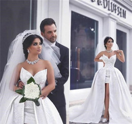 wedding dress satin detachable train 2021 - A Line Satin Lace Said Wedding Dresses with Detachable Train Puffy Bridal Gowns Saudi Arabic Dubai Short Wedding Gowns