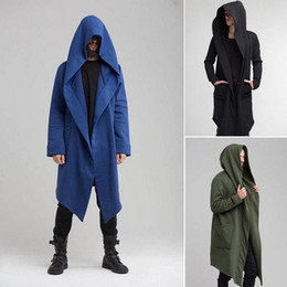 Wholesale cape coat men black resale online - 2020 Autumn Men Cardigan Hooded Cloak Cape Coat Long Trench Outwear Overcoat Fashion Mens Solid Hooded Coat Black