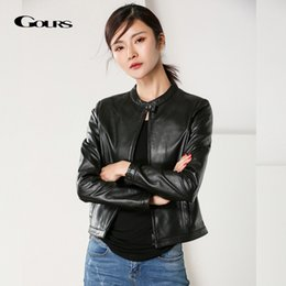 Wholesale classic leather jacket styles for sale – winter Gours Women s Genuine Leather Jackets Spring Classic Fashion Short Motorcycle Sheepskin Jacket Black Punk Style Coats HSW210