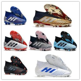Discount football boots increase height 2020Predator 19 FG soccer shoes sneakers football cleats high top boots youth kids men women trainers cleat boot sneaker laceless waterproof