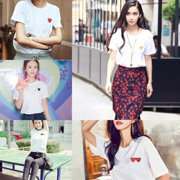 Wholesale little red hearts for sale – halloween N60GN Chaopai sleeve Chuanjiu love T shirt T shirt Baoling short couple parent child embroidery little red heart cotton female white AlALn