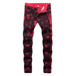 Wholesale american coat size for sale – custom Men Splashes Personality Fashion Skull Printed Jeans Casual Slim Red Skull Printing Jeans Male Red Pants Plus Size