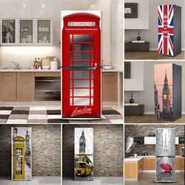 fridge covers Canada - London Pattern Design Self-adhesive Vinyl Fridge Door Sticker Large Mural Cover For Refrigerator Kitchen Furniture Decoration 201207