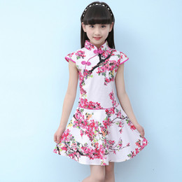 Wholesale qipao skirt for sale - Group buy Children Cheongsam Dress Oriental Traditional Clothes Competition Performance Clothing Cotton Cheongsam Girl Skirt Qipao