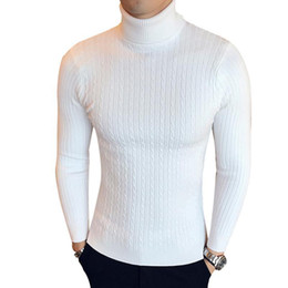Wholesale slim fit sweaters resale online – Warm Winter High Neck Thick Sweater Men Turtleneck Designer Mens Sweaters Slim Fit Pullover Men Knitwear Male Double collar