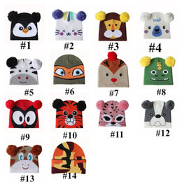 Discount girls slouchy beanies Cute Kids Pom Pom Cartoon Beanies Hat Boys Girls Knitted Animal Head Hat New Year 2021 Slouchy Skull Caps Warm Tuque Out