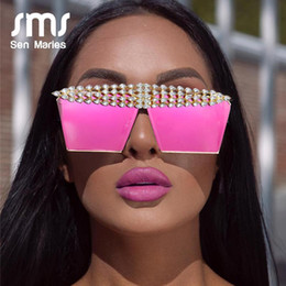 Discount wholesale mirrored flat top sunglasses Luxury Square Diamond Sunglasses Women Men 2020 Flat Top Crystal Punk Sun Glasses Mirror Rhinestones Red Purple Eyewear UV400