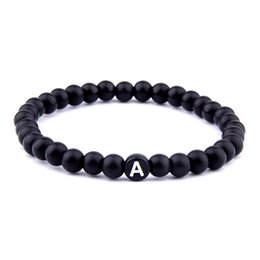 name beads wholesale NZ - Letter Bracelets Name Natural Black Stone Letter Beads Bracelet Mens Women Gift For Male Braiding Bracelet A-S Jewelry Black