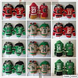 Dallas Stars Hockey Hoodie трикотажные изделия 9 Mike Modano 91 Tyler Seguin 14 Jamie Benn Calgary Flames 23 Шон Монахан Марк Джордано Джонни Гадрова на Распродаже
