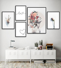flowers art painting Australia - Girl Butterfly Rose Flower Love Quotes Wall Art Canvas Painting Nordic Posters And Prints Wall Pictures For Living Room Decor
