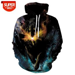 running hoodies for women UK - 2019 new hoodie for men and women, 3D print running fire Wolf print thin fall hoodie for both men and women, Drop Ship Animal #1X5M