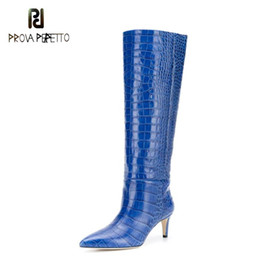 Discount clear plastic boots women 2020 New Blue Crocodile Pattern Knee-length Boots Women Autumn Winter Orange Snakeskin Pattern Slip-On High-heeled Pointed Boots