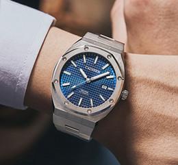 Venta al por mayor de 2020 nuevo diseñador de lujo azul de los hombres del reloj de los relojes mecánicos de los hombres automáticos 100M impermeable Business Casual luminoso reloj de pulsera