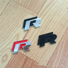 vw racing stickers NZ - Popular Metal 3D R Logo Badge Emblem Racing Car Sticker for VW Volkswagen Golf 5 6 7 Touareg Tiguan Passat B6 B7 Jetta Sharan