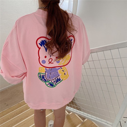 Wholesale cute korean women clothing online – oversize 3sRoO women s new student Autumn clothing neck hipsterstyle Korean cute bear round painted for women Autumn sweater sweaternew student women