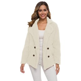 Wholesale teddy jackets resale online - Teddy Fleece Coat Women Faux Fur Coats Long Sleeve Fluffy Fur Jackets Winter Warm Female Jacket Winter Coats Plus Size Outwear