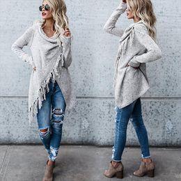 Wholesale fringe cardigan resale online - Women Knitted Warm Sweater Winter Cardigans Long Sleeve Tassel Fringe Shawl Poncho Oversized Cardigan Drop Shipping