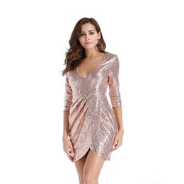Discount sexy nice long dress V Neck Sexy 3 4 Long Sleeve Women's Casual Dress 2021 Lady and Girl's Sequins Dresses Nice Club Wear