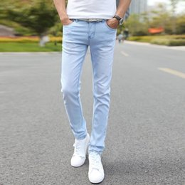 ingrosso pantaloni stretti di nuovo stile-2020 New Fashion Men s Casual Stretch Skinny Jeans Pantaloni Tight Pants Colori solidi