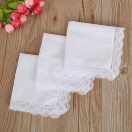 White Lace Thin Handkerchief Woman Wedding Gifts Party Decoration Cloth Napkins Plain Blank DIY Handkerchief HHA2096 on Sale