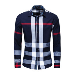 Wholesale flannel shirts men resale online - Men s Button Down Plaid Shirt Regular Fit Long Sleeve Flannel Casual Shirts Men Jacket Coat Mens Tops Big Size FM199