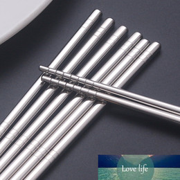 tie slip dress Canada - 5 Pairs Set Chinese Non-slip Chopsticks Chopsticks Sticks Sticks Chop Set Baguette Reusable Metal Steel Food Stainless Sushi Nppvr
