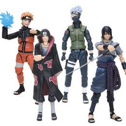 Venta al por mayor de 2 unids / set Figurine Sasuke Naruto Namikaze Minato Hatake Kakashi Figuras de acción Naruto Collectible Figura Juguetes Y200421