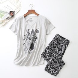 big animal t shirts NZ - Cotton Pajamas Set Women Print Cartoon Plus Big Pyjama Short Sleeve T-shirt Femme Mom Pyjamas Fashion Summer Sleepwear LJ200921