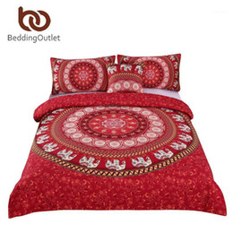 Wholesale fabric california for sale - Group buy BeddingOutlet Red Mandala Boho Bedding Set Bohemian Elephant Messenger Bed Linen Soft Fabric Moroccan Bedclothes Pcs1