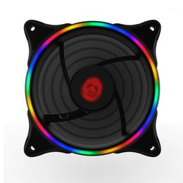 Discount small desktop computers COOLMOON Cooling Fan Neon Desktop Computer Case Fan 12cm RGB Rainbow Color LED Light Laptop Cooling Large 4P+Small 3P1