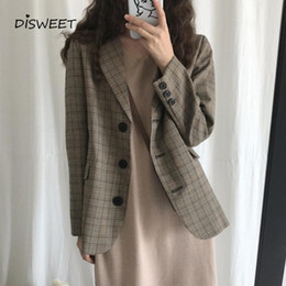Wholesale big breasted lady resale online – Korean Plaid Long Sleeve Suit Woman Retro Suit Collar Single Breasted Slim Ladies Simple Autumn Big Pocket Tops Women