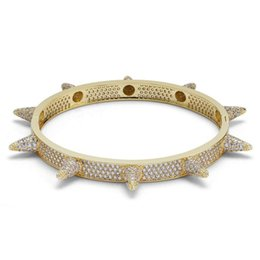 Mens Bangles Fashion Grade Quality Exquisite Punk 18K Gold Plated Rivet Geometric Bracelets Luxury Zircon Hip Hop Bangles