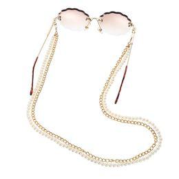 Neuer Ankunfts-All-Purpose-Brillen-Kette mit Hummer-Haken Dual Design Metall und künstliche Perlen Doppel Ketten für Mund-Maske im Angebot