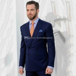Wholesale mens double breasted wool jacket for sale - Group buy 2021 Men Suits Navy Blue Double Breasted Slim Fit Wedding Suits For Mens Jacket Tuxedos Custom Made Casual Groom Blazer Prom Evening Dress