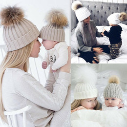 fur hats for kids UK - Womens Baby Warm Winter Knit Beanie Solid Color Wool Hats For Kids Mom New Casual Fur Ball Pompom Beanies Ski Parent-child hats