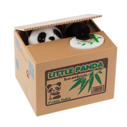 Discount panda money box Panda Cat Thief Money Boxes Toy Piggy Banks Gift Kids Money Boxes Automatic Stole Coin Piggy Bank Money Saving Box Z0122