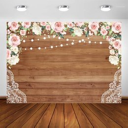 flower backdrop for wedding 2021 - Bridal Shower Backdrop for Photography Birthday Party Decor Background Rustic Wedding Flowers Wood Wall Photo Booth Backdrops1