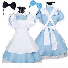 Wholesale alice wonderland movie online – design Hot Sale Alice in Wonderland Costume Lolita Dress Maid Cosplay Fantasia Carnival Halloween Costumes for Women
