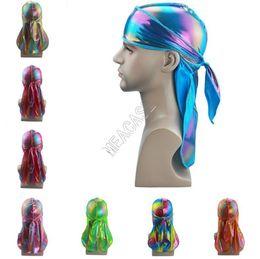 Colorful Laser Sparkly Durags Turban Shiny Silky Durag Bandana Turban Wigs Wave Caps Hip Hop Headdress Headband Pirate Caps Rags H