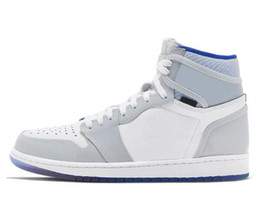 New 1 High Zoom R2T Racer Blue Basketball Shoes Men Women 1s Zoom White Grey Sports Sneakers With Box on Sale