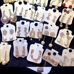 Wholesale Luxury Jewelry Women Earrings Microinlaid Zircon Flower Fashion Stud Earring Five Pointed Star Statement Eardrop Gift 5 9wt G2B