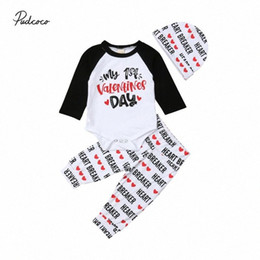 2020 2020 Valentines Day Newborn Baby Boy Girl Long Sleeve Top Romper Heart Pants Hat Outfits Clothes Set vjBX#
