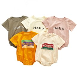 baby crew clothing NZ - ANG Quality INS Kids Clothes Baby Rompers Pure Cotton Jumpsuit Infant Summer Short Sleeve Hello Oneises Newborn Romper Climb Clothes